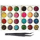 BOZEVON Nail Art Decoration Pegatinas - Glitter Dust Powder Tip Decoration 2 Pieces 12 Colors/Set Resin Half Circle Beads Decoration for DIY Nail Art Manicure Charm