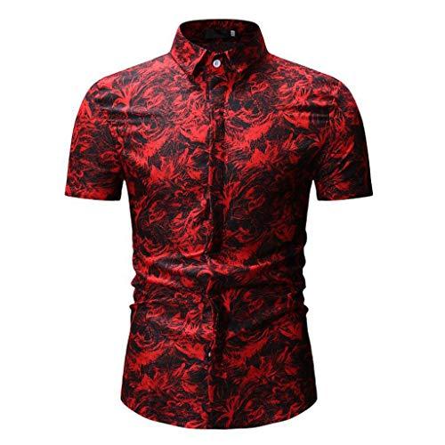Xmiral Camicia da Uomo Camicia Slim Fit Camicia da Uomo, Stile Inglese, Elegante, Aderente, a Maniche Corto, Colletto Turn-Down con Bottoni M Rosso-1