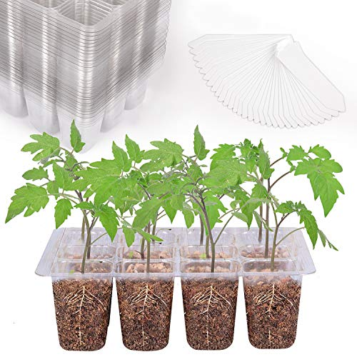 Seedling Starter Trays 360 Cells Transparent Seed Tray Grow Germination Kit with 30 Plant Lables(30 Trays, 12 Cells per Tray, 1.5 inch)