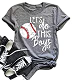 DUDUVIE Women Let's Do This Boy Baseball Mom Tshirt Casual Letter Print Tops Tee(Medium,Gray)