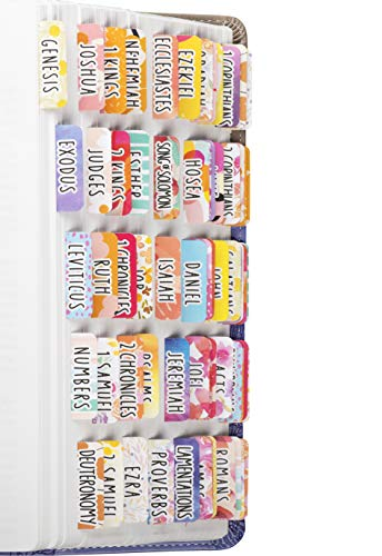 DiverseBee Laminated Bible Tabs for Women (Large Print, Easy to Read), Colorful Bible Journaling Book Tabs, Christian Gift, 66 Bible Tabs Old and New Testament, Includes 18 Blank Tabs - Bright Theme