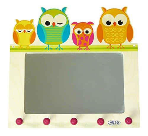 Hess Holzspielzeug 30502 - Porte-manteaux en bois, motif hiboux, avec miroir mural et crochets, pour enfants, pour attirer l'attention dans la chambre et le couloir de chaque enfant