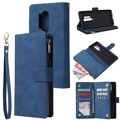 HATA OnePlus Nord Wallet case,OnePlus Nord Folio Leather Credit Card Zipper Pocket [Magnetic Closure] [Wrist Strap] [Stand] Ultra Slim Wallet Holder for OnePlus Nord (Blue, OnePlus Nord)