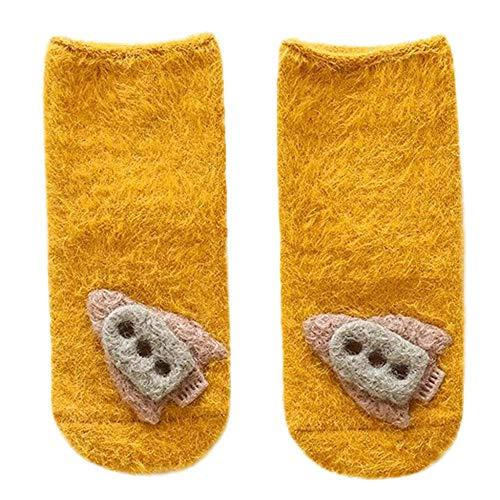 Leeafly 1Pairs Socken Scherzt Säuglingskleinkind-nette Unisexbaby-Kaninchen-Karikatur-feste rutschfeste Warme Socken Mit Baumwolle Mode Wärmende(Gelb,S)