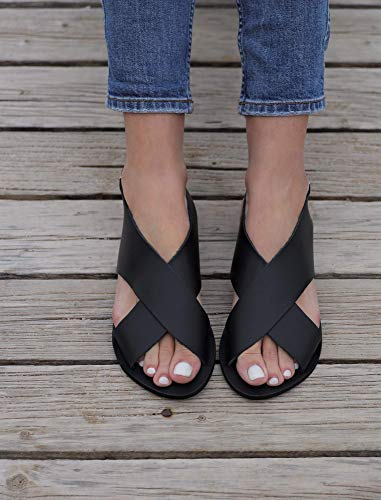 Cross Over Black Leather Sandals with Buckled Ankle Strap  Handmade Greek Gladiator Shoes for Women