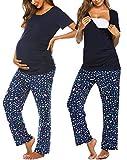 Ekouaer Women's Cute Maternity/Pregnancy/Breastfeeding/Nursing Hospital Pajamas Set Printed Short Sleeve Cotton Sleepwear Sets (N-Blue XL)