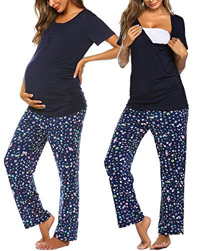 Ekouaer Women's Maternity Nursing Pajamas for...