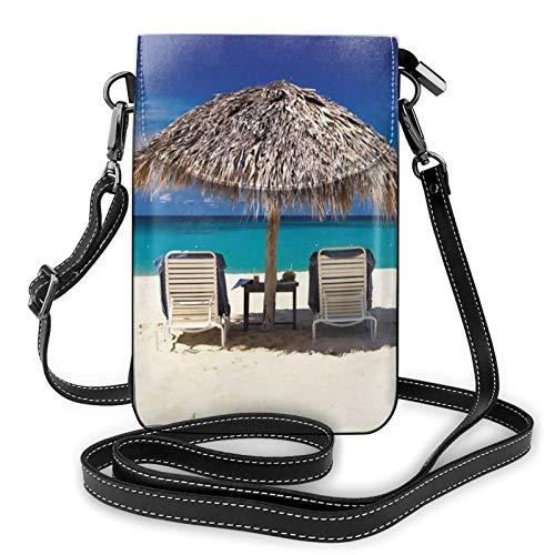 Bolso ligero del teléfono celular de la PU, bolso pequeño de la playa de Jamaica Crossbody de la cartera del bolso del hombro del bolso de Pounch para las mujeres, color Negro, talla Talla única