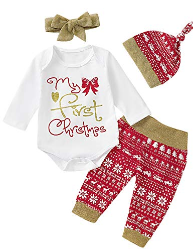 Shalofer 4PCS Newborn First Christmas Outfit Baby Girls 1st Xmas Gold Glitter Bodysuit with Hat and Headband (White,0-3 Months)