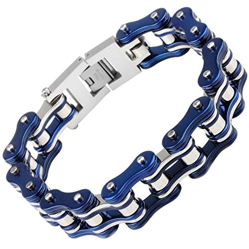 Silking Jewelry Heavy Metal Stainless Steel Men's Motorcycle Bike Chain Bracelet Blue Bangle 19mm 8.85inch