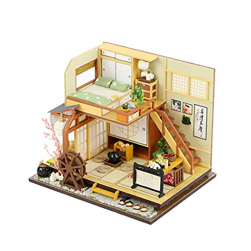 GBSELL DIY Dollhouse Wooden Miniature Furniture Kit Mini House with LED Best Birthday Present for Toddler Girls and Kids (B)