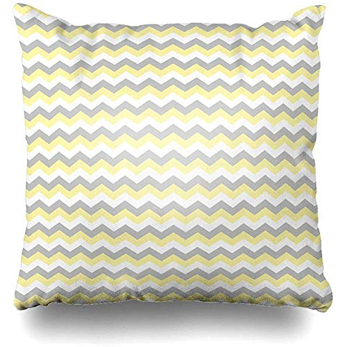 Throw Pillow Case 45x45 cm Chic Stylish Classic Cool Chevron Zigzag Gray Stripe Abstract Textures Pretty Trend Elegant Yellow Cushion Cover