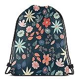 Yuanmeiju Night Garden Drawstring Backpack Bag Lightweight Gym Travel Yoga Casual Snackpack Shoulder Bag for Hiking Swimming Beach