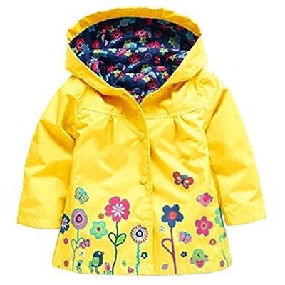 Wennikids Baby Girl Kid Waterproof Floral Hooded Coat Jacket Outwear Raincoat Hoodies Small Yellow