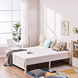 Wood Platform Bed with Headboard, Bed Frame with Wooden Vertical Strip Slat Support, No Box Spring Needed, Under Bed Storage (Queen, White)