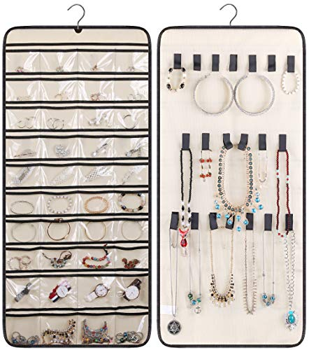 MISSLO Dual-Sided Hanging Jewelry Organizer with 40 Pockets and 20 Hook & Loops Closet Necklace Holder for Earring Bracelet Ring Chain with Rotating Hanger, Beige