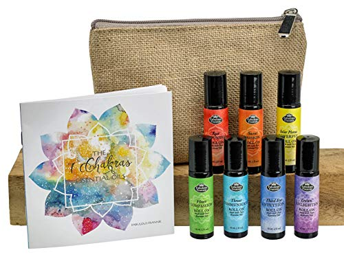 Chakra Complete Pre-diluted Roll On Set with Travel Bag Made...