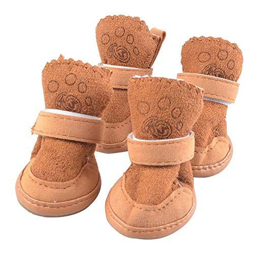 Doublehero 4pcs Hundeschuhe Schneeschuhe Winter Plüsch Schuhe Stiefel Outdoor rutschfeste Schuhe Haustier Chihuahua Warme Niedlich Stiefel für Kleine Hunde (S, Braun)