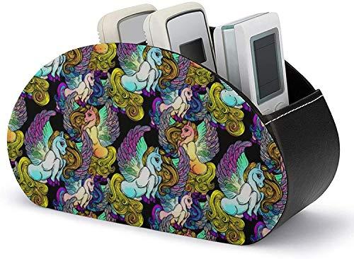 Soportes de control remoto de TV Arctic Nights con 5 compartimentos Caja de almacenamiento de cuero de PU para el hogar para almacenar TV DVD Blu-Ray-black-art boho chic s5