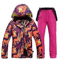 YABAISHI スキースーツスーツ男性と女性カップルモデルベニアダブルボードスキーパンツ暖かい厚い防水防風のスキー摩耗 (Color : 3, Size : XXL)