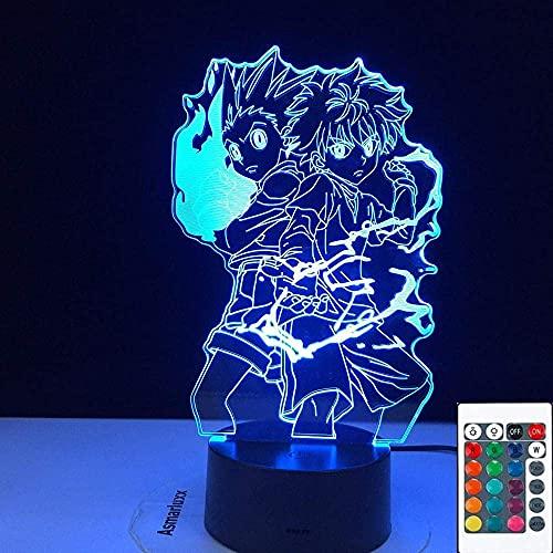 Personajes de Anime 3D Luz de noche LED Lámpara deslizante Decoración del hogar Control remoto de 7 colores Botón táctil Día de Navidad Cumpleaños Regalo único para niños