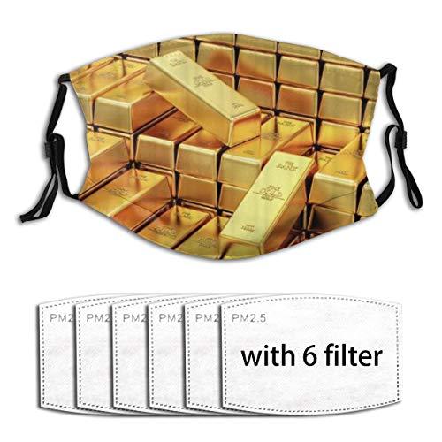 NOLYXICI Gesichtsbedeckung Goldbarren Design Sturmhaube Unisex Wiederverwendbare Winddichte Anti-Staub-Mund Bandanas Halsmanschette mit 6 Filtern