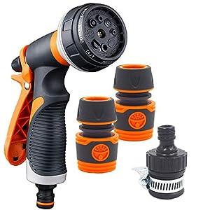 YLX Pistola de Riego Pistola de Agua de Jardín con 8 modos, Alta Presión Para Lavado de Autos/Riego de Plantas y Ducha de Mascotas
