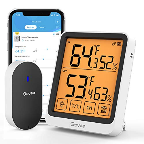 Govee Bluetooth Indoor Outdoor Thermometer,Digital Wireless Weather Hygrometer Humidity and Temperature Sensor with App Notifications,4.5-Inch Large LCD Touchscreen with Backlight,2-Year Data Storage
