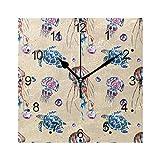 DragonSwordlinsu COOSUN - Reloj de pared con diseño de medusas y tortugas (acrílico, 20 cm, cuadrado), color plateado