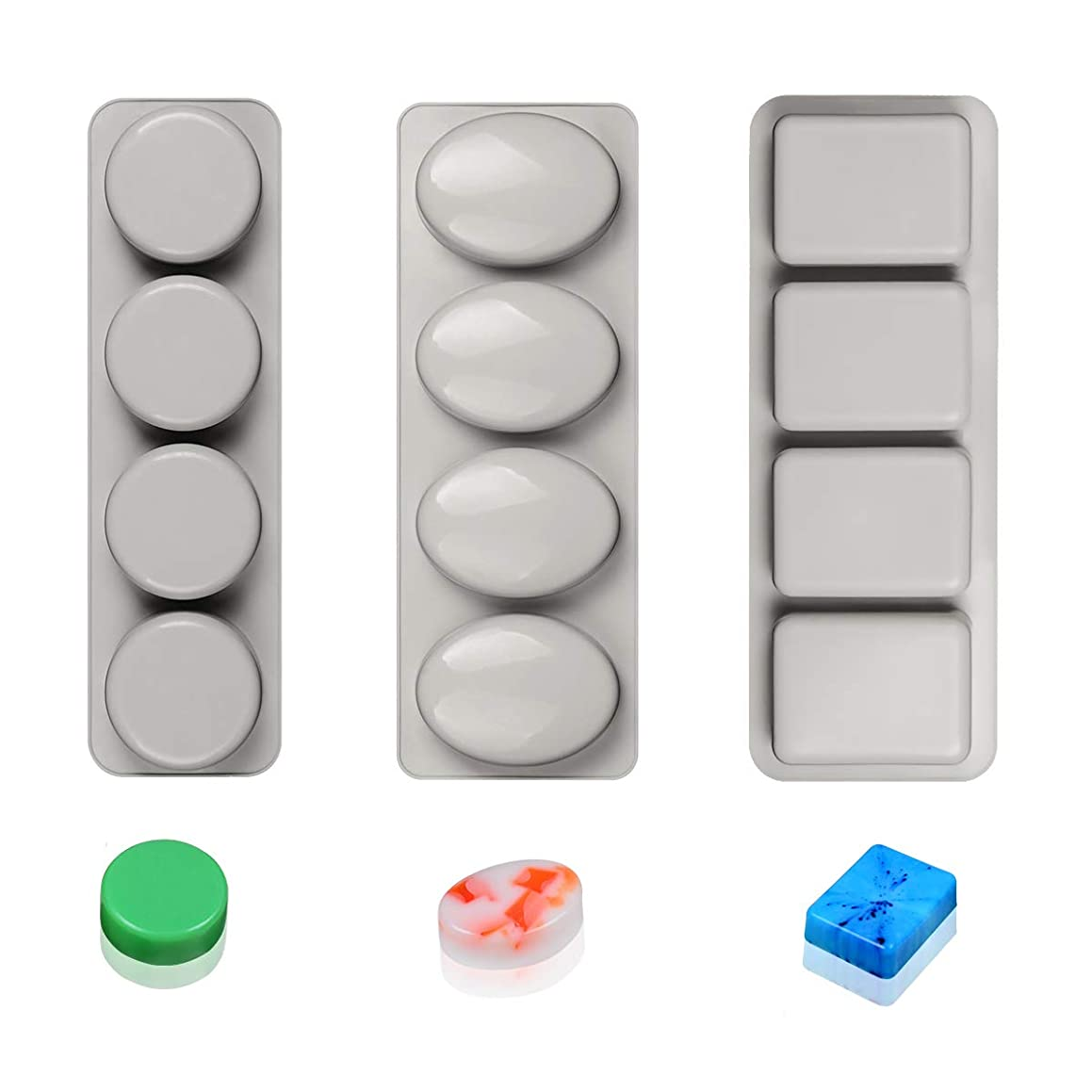 Silicone Soap Molds Round Oval & Rectangle Silicone Mold-3pcs Soap Molds for Soap Making and Candle