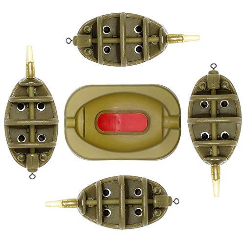 HomeDejavu Inline Flat Method Feeder Set, Karpfenangeln Zubehör aus Kunststoff, Schnelllöse-Form und 4 Karpfenangeln Feeder 15/20/25/35g