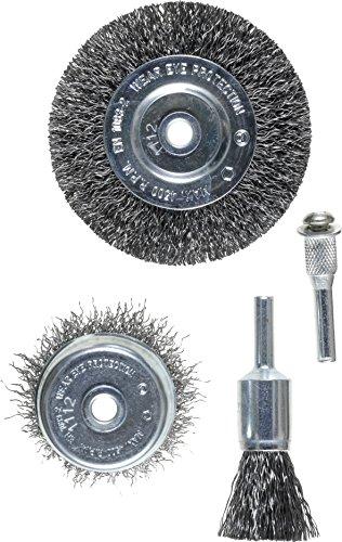 kwb Drahtbürsten-Satz, 4-teilig - Set aus Stahl-Draht, gewellt, inkl. Scheiben-Bürste, ideal zum Entrosten und für Reinigungs- und Schleifarbeiten