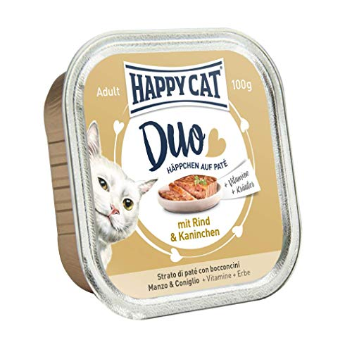 Happy Cat Patentado en canapés & Conejo de Vacuno, 12Unidades (12x 100g)