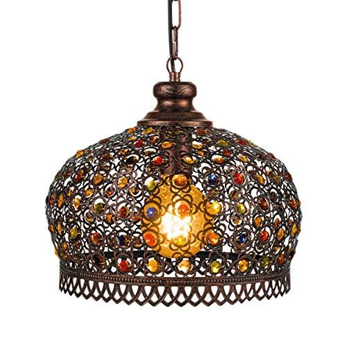 EGLO Pendelleuchte Jadida, 1 flammige Hängelampe Vintage, Orientalisch, Hängeleuchte aus Stahl in Kupfer-Antik und Glas in Bunt, Esstischlampe, Wohnzimmerlampe hängend mit E27 Fassung, Ø 33 cm