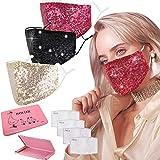 GOOGIT Mascherina Eleganti Donna Facciale, Tessuti Lavabile, Riutilizzabile per Adulto Protezione Viso (Set H)