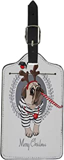 Pinbeam Luggage Tag Christmas Pug Dog in Striped Cardigan Horn Deer Suitcase Baggage Label