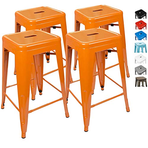 UrbanMod 24 Inch Bar Stools for Kitchen Counter Height, Indoor Outdoor Metal, Set of 4, Orange