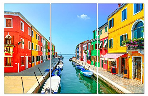 Canvas Wall Art Decor - 12x24 3 Piece Set (Total 24x36 inch)- Colorful Venice Italy - Decorative & Modern Multi Panel Split Canvas Prints for Dining & Living Room, Kitchen, Bathroom, Bedroom & Office