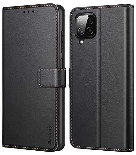 Ganbary Handyhülle für Samsung Galaxy M32 Hülle, Premium Leder Tasche Flipcase [Kartenschlitzen] [Magnetverschluss] [Standfunktion] kompatibel mit Samsung Galaxy M32 Schutzhülle, Schwarz