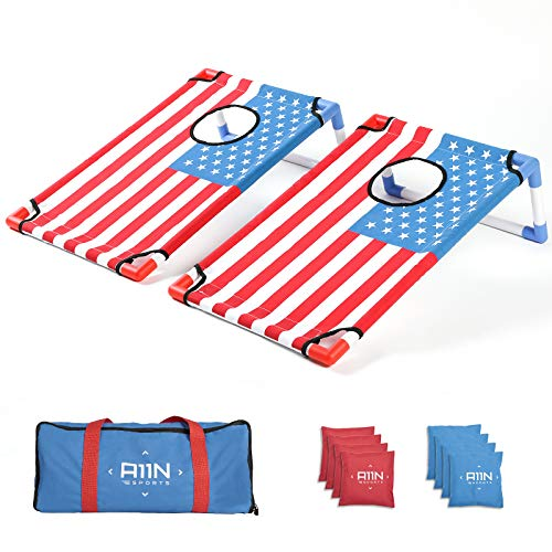 A11N Portable PVC Framed Cornhole Game Set with 8 Bean Bags & Carrying Bag | American Flag Pattern