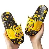 Divertidos zapatillas de baño, Pokémon Pikachu zapatillas para niños niños niñas de verano sandalias de hogar baño antideslizante zapatos para interiores con impresión-Negro_EU32 / 33 (20cm)
