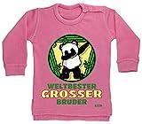 Hariz - Jersey para bebé, diseño con texto en alemán 'Weltbester Grosser Bruder Panda Dab Geburtstag Bruder Baby Plus' Algodón de azúcar rosa. Talla:12-18 meses
