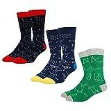 MIZZM Calcetines divertidos para hombres, calcetines de skate con estampado de fórmula matemática con personalidad, calcetines de bicicleta al aire libre, calcetines de escalada para correr, 3 pares