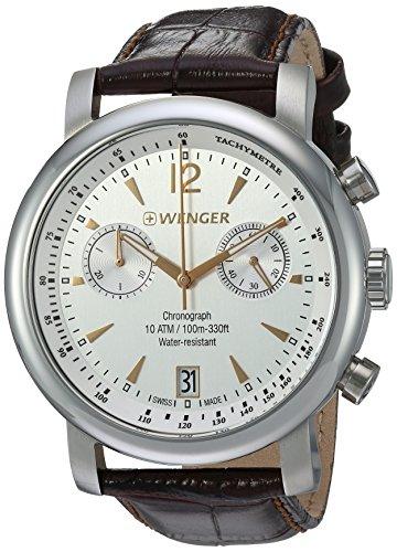 Wenger Men's Urban Classic Chrono Swiss-Quartz Watch with Leather Calfskin Strap, Brown, 20 (Model:...