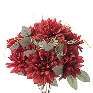 Yongyue Springs Flowers Artificial Silk Dahlia Bouquets Wedding Home Decoration (Spring Red)