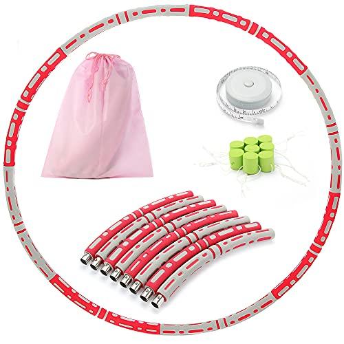 TRIFRIQ Hula Hoop Reifen Erwachsene, Gewichten Hoop für Erwachsene zur Gewichtsabnahme, EIN 8-Teiliger Abnehmbarer Hula-Hoop-Reifen für Bauchmuskelkonturen, Gewichten Einstellbar von 1,2 bis 3,2 kg