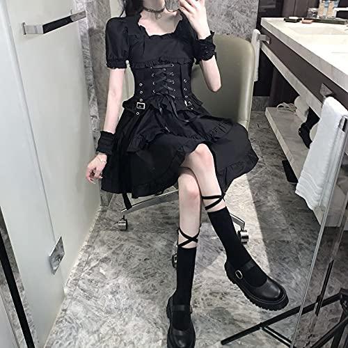 Vestidos de Mujer Soplo Manga Black Vestido Lolita Vendaje Alto Cintura Vestido...