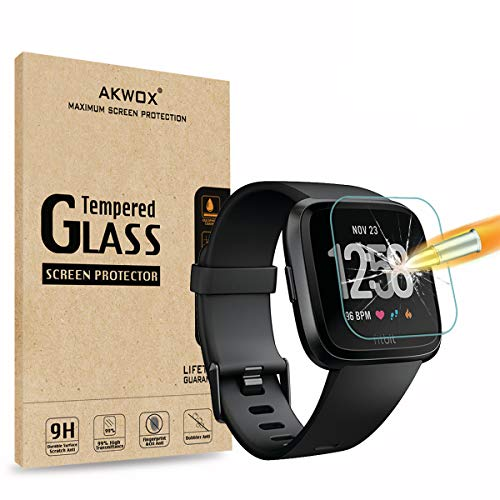 [4 Pack] Compatible with for Fitbit Versa Tempered Glass Screen Protector, AKWOX [0.3mm 2.5D High Definition] Screen Protector for Fitbit Versa [9H Hardness] [Crystal Clear] [Scratch Resist] [No-Bubbl