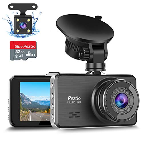 Dash Cams For Cars Front and Rear Full HD 1080P Car Dash Camera, Dual Dash Cam with 32GB SD Card 3 Inch Screen, Night Vision, G-sensor, 170° Wide Angle, Loop Recording, Motion Detection, Parking Guard