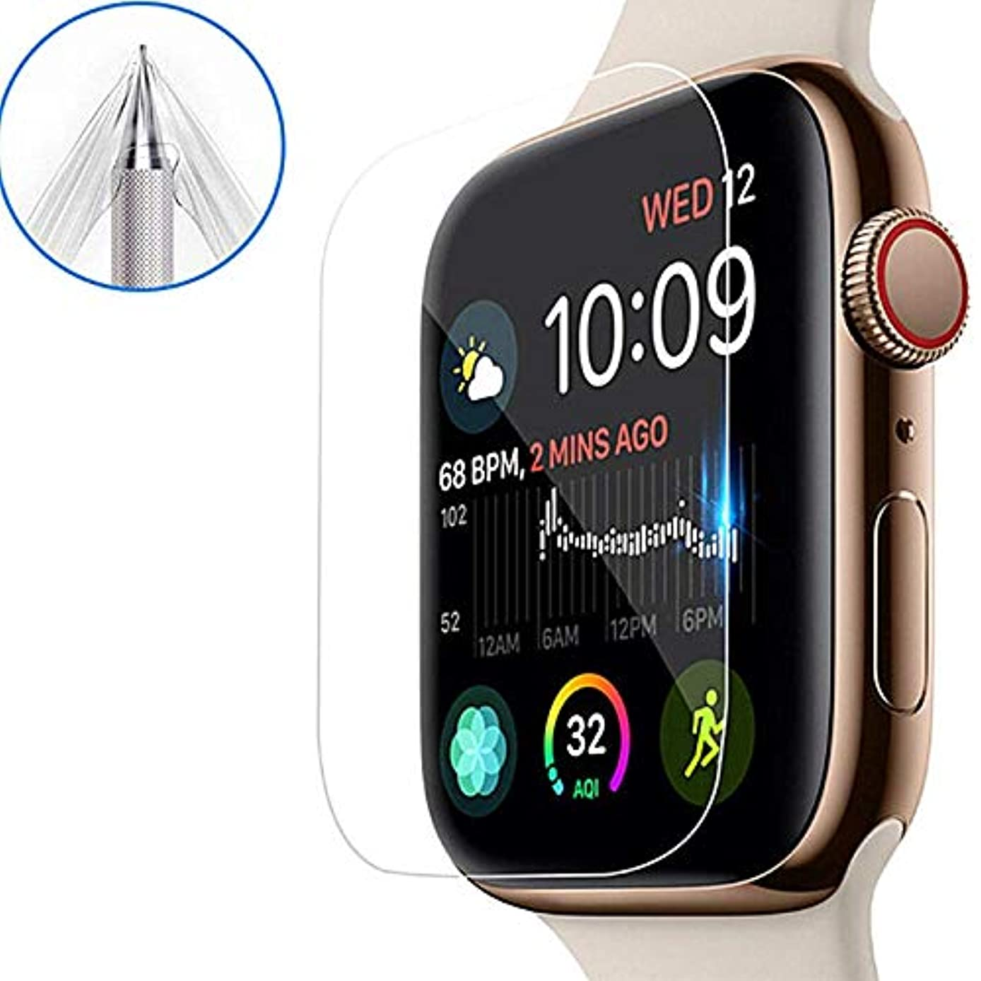 for Apple Watch Series 4 Aluminum Screen Protector Soft Film (44mm), [3pack] Ultra Clear Protective Film (Not Glass) for iWatch 4 2018 New Apple Watch 4 (44mm)